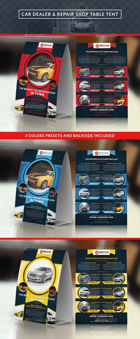 Car Dealer & Auto Services Table Tent - Miscellaneous Print Templates