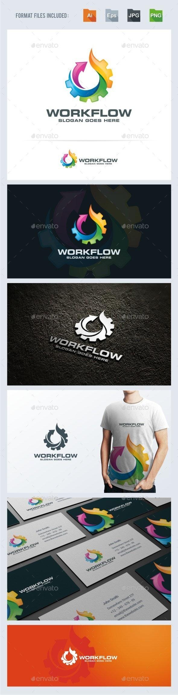 Work Flow - Gear Flame Logo Template - 3d Abstract