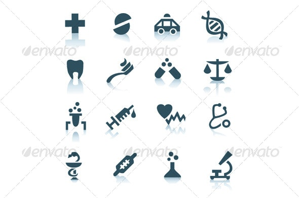 Gray medicine icons on white background - Miscellaneous Icons