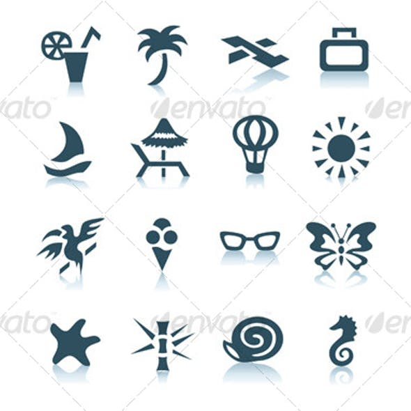 Gray vacation icons