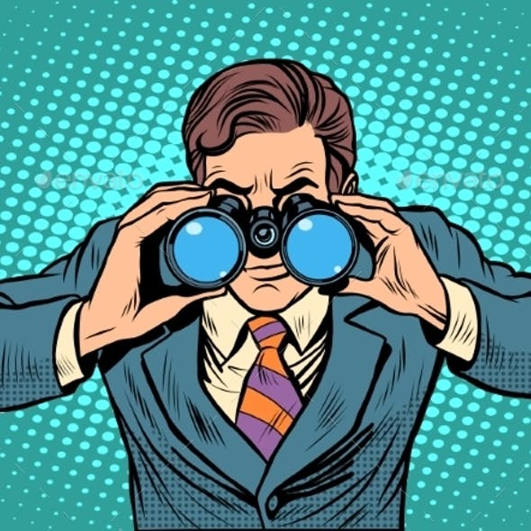 Businessman Looking Through Binoculars.