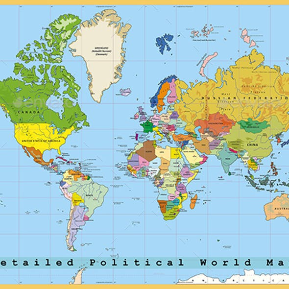 Highly Detailed Political World Map with Capitals. Separated Layers. Vector Illustration.