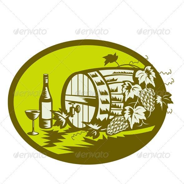 Wine Cask Barrel Bottle Grape Retro