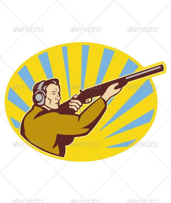 Hunter With Shotgun Rifle Aiming Side - People Characters