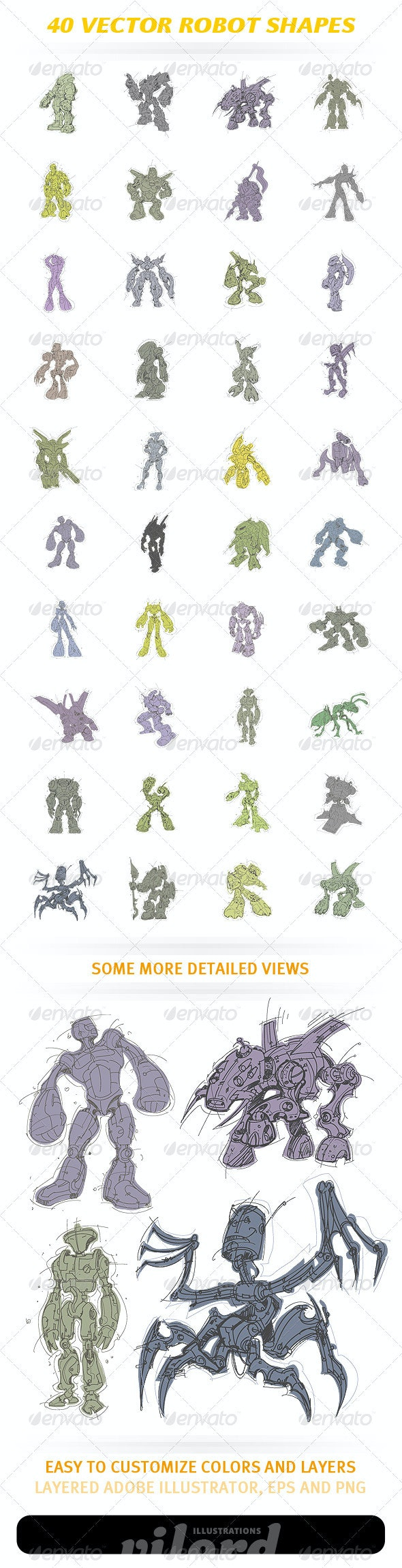 40 Vector Robot Shapes - Man-made Objects Objects