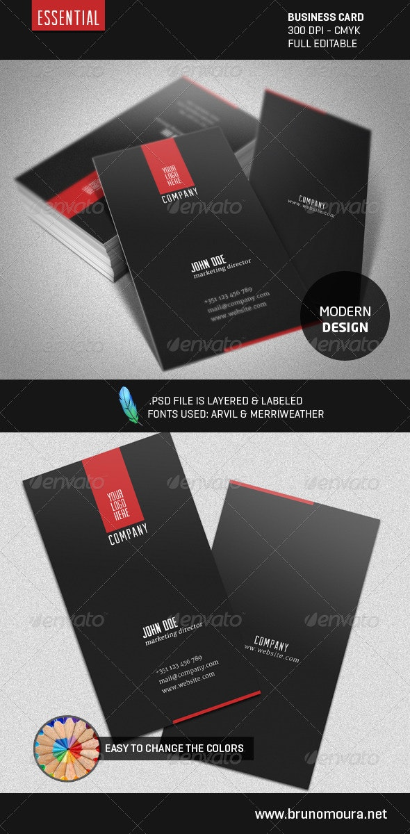 Essential - A Modern Business Card - Corporate Business Cards