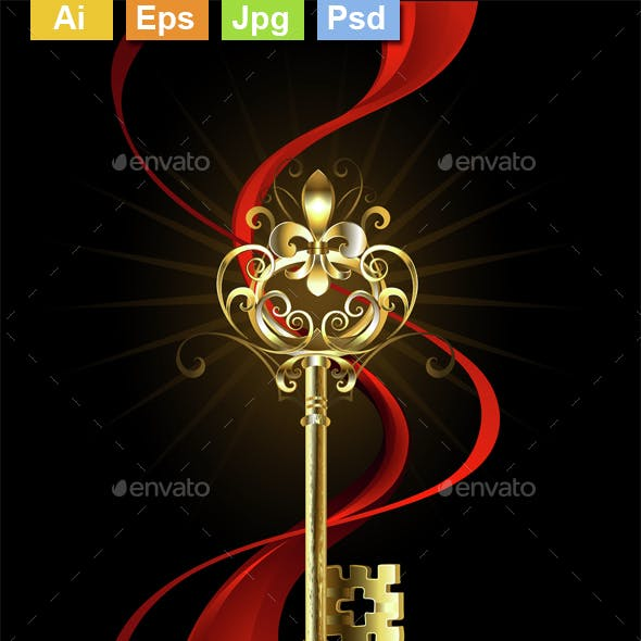 Golden Key with a Fleur de Lis