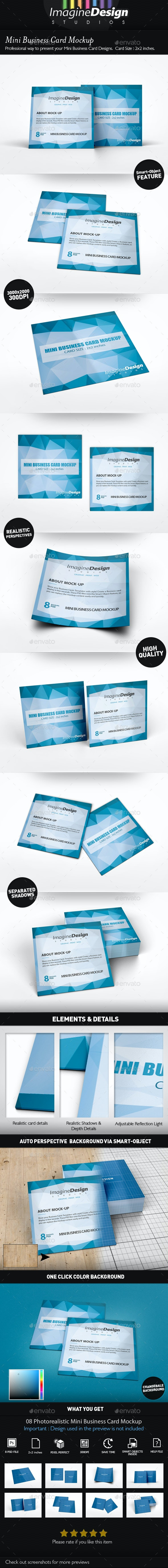 Mini Business Card Mockup - Business Cards Print