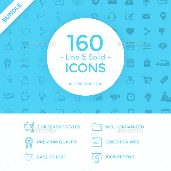 160 Line & Solid Icons Bundle