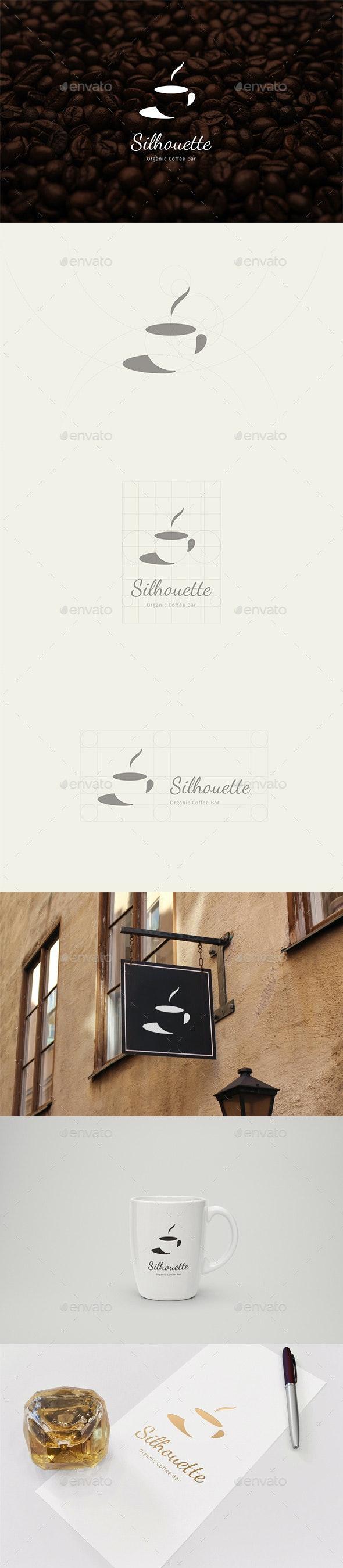 Silhouette Organic Coffee Bar Logo - Food Logo Templates