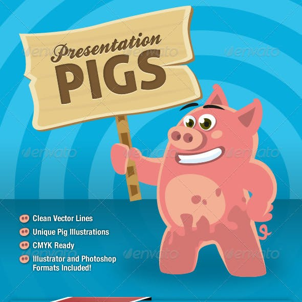 Presentation Pigs Character Illustrations