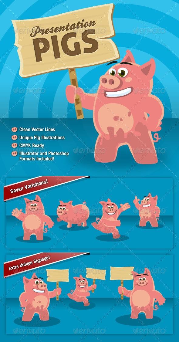 Presentation Pigs Character Illustrations - Characters Vectors