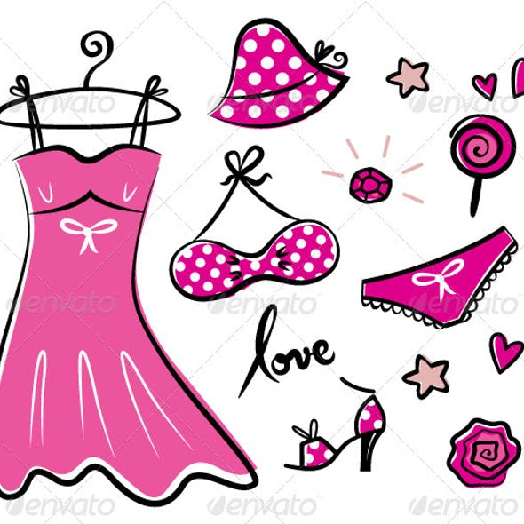 Fashion retro pink icons and accessories