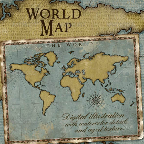 World Map; Vintage Style Artistic