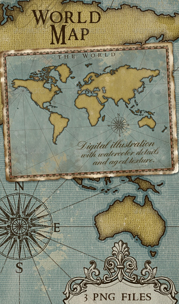 World Map; Vintage Style Artistic - Backgrounds Graphics