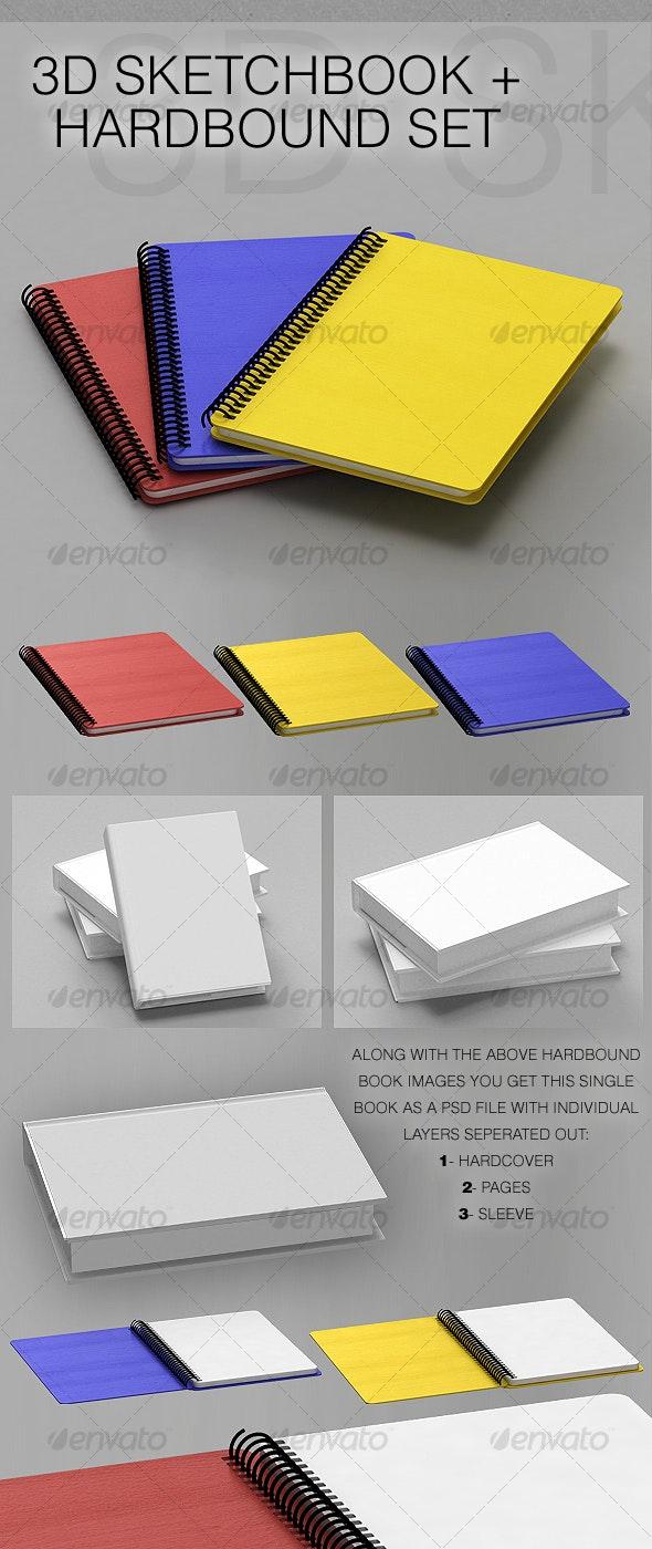 3D Sketchbook + Hardbound Book - 3D Renders Graphics