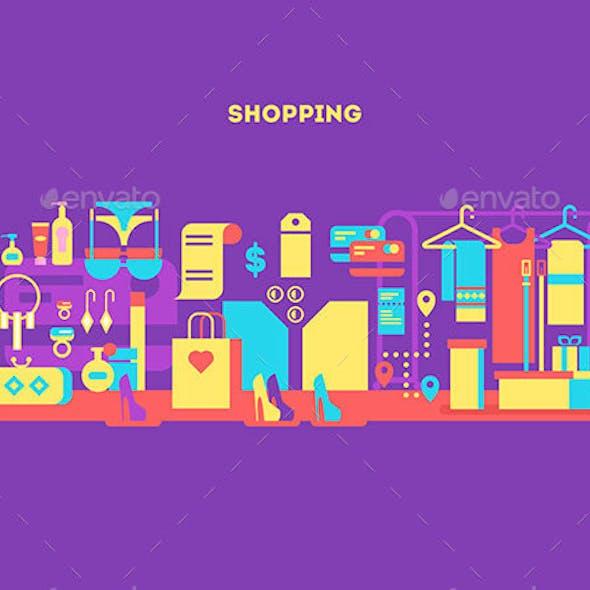 Shopping Design Flat Concept