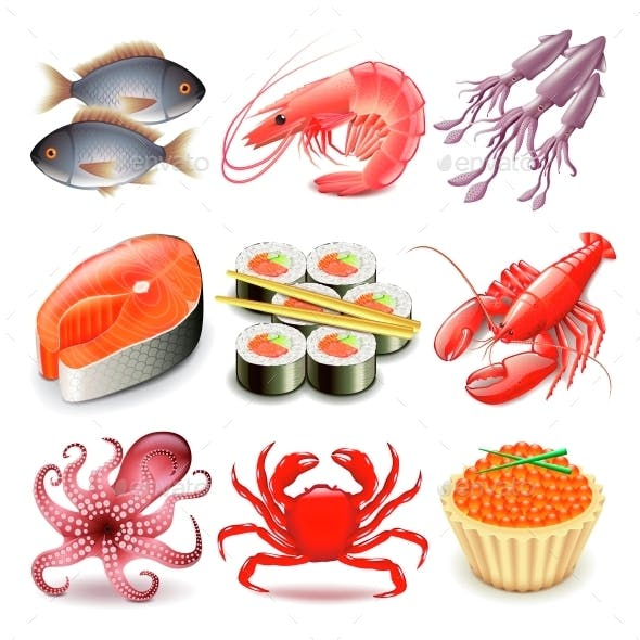 Seafood Icons Vector Set