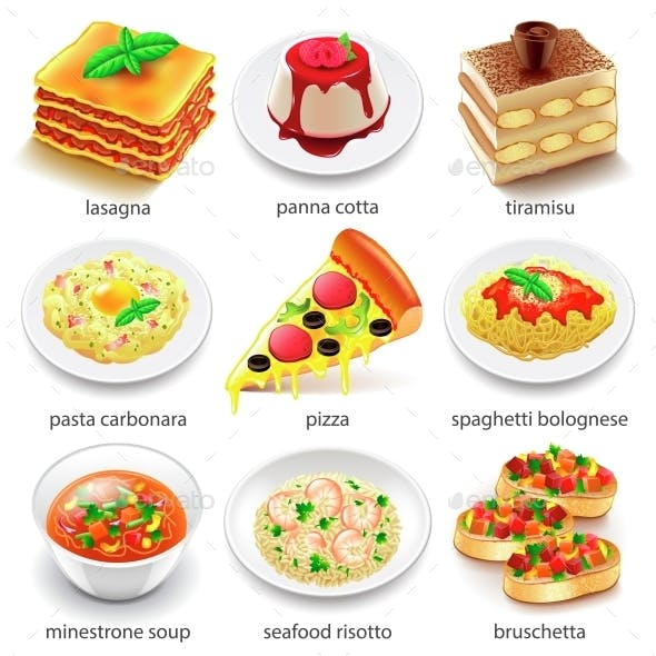 Italian Food Icons Vector Set
