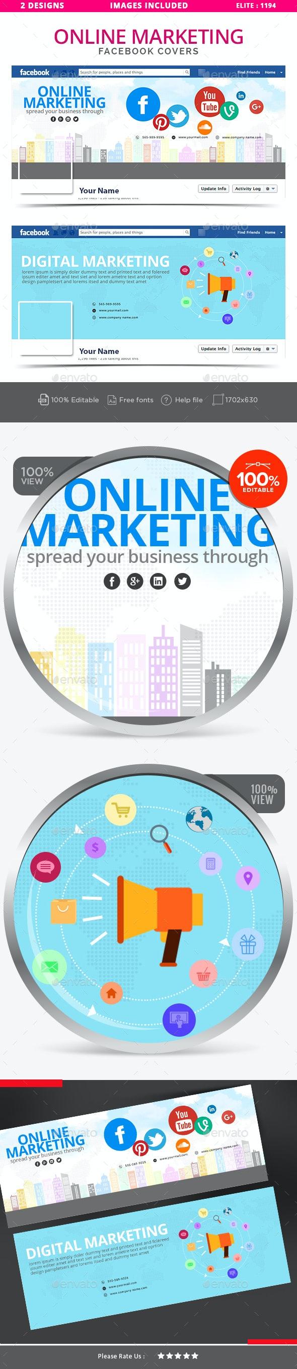 Online Marketing Facebook Covers - 2 Designs - Facebook Timeline Covers Social Media