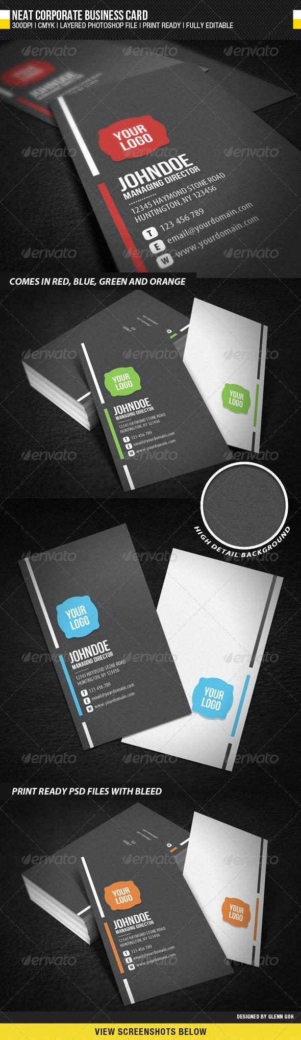 Neat Corporate Business Card - Corporate Business Cards