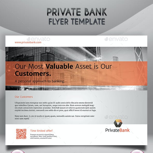 Private Bank Landscape Flyer Template