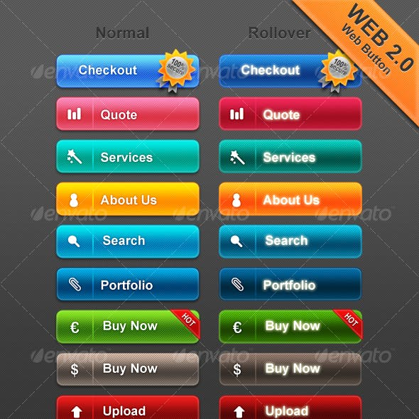 Web 2.0 Buttons, social icons & product showcase
