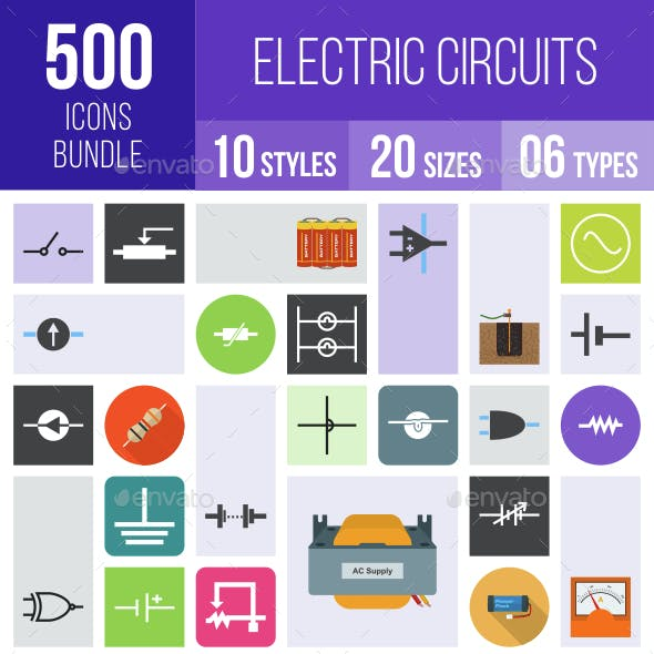 500 Electric Circuits Icons Bundle