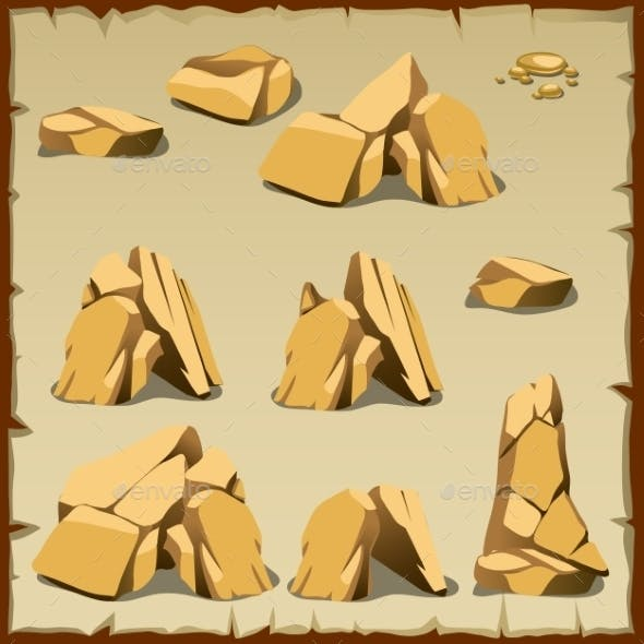 Beige Rock of Different Shapes
