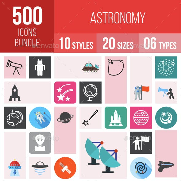 500 Astronomy Icons Bundle