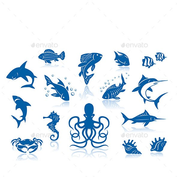 Sea Life and Fishes Icon Set