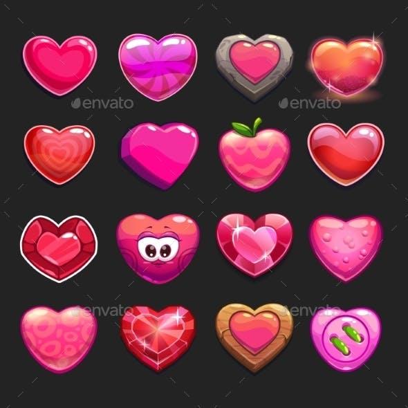 Cartoon Heart Icons Set