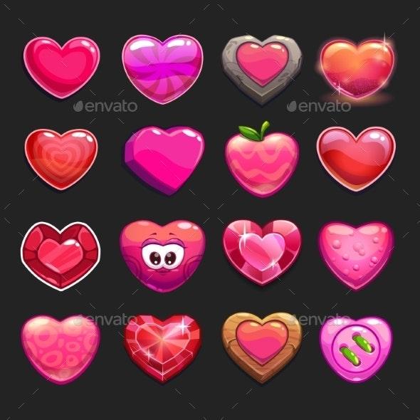 Cartoon Heart Icons Set - Web Elements Vectors