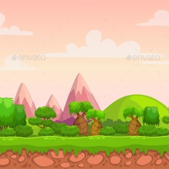 Cartoon Seamless Nature Landscape
