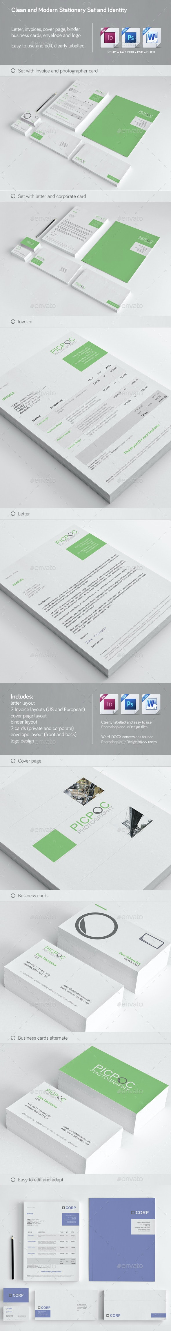 Clean & Modern Stationery, Invoice and Identity - Stationery Print Templates