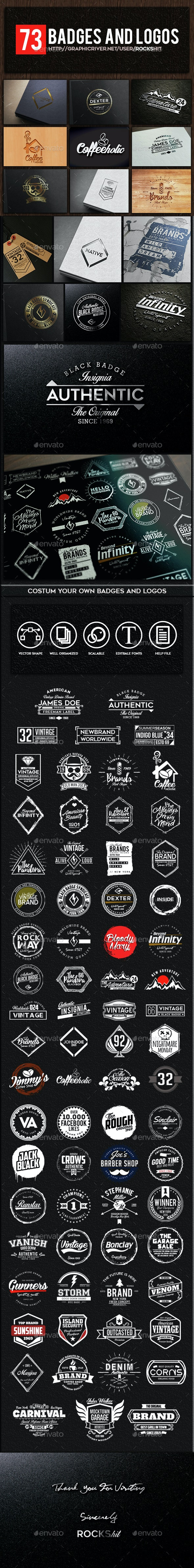 73 Badges and Logos - Badges & Stickers Web Elements