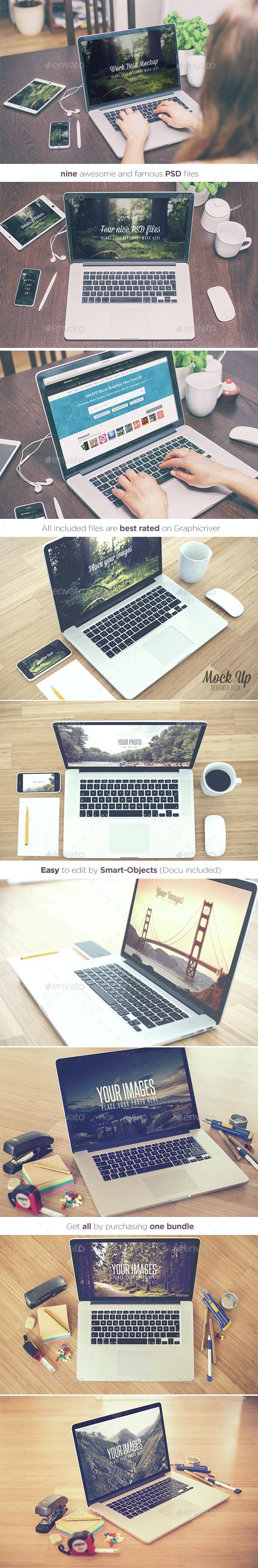 Work Desks - Realistic Mock Up - Bundle  - Displays Product Mock-Ups