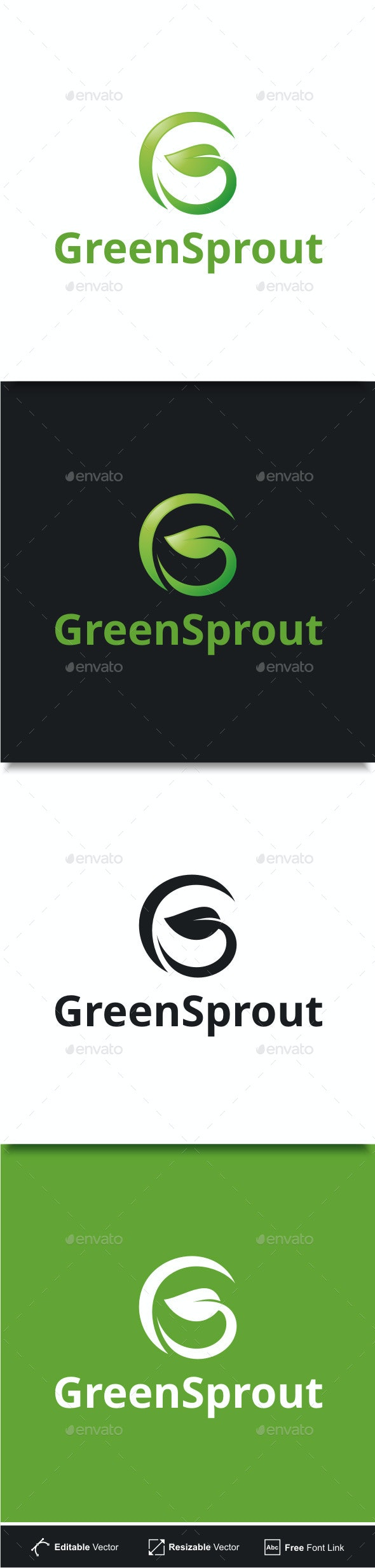 Green Sprout - Letter G Logo - Nature Logo Templates