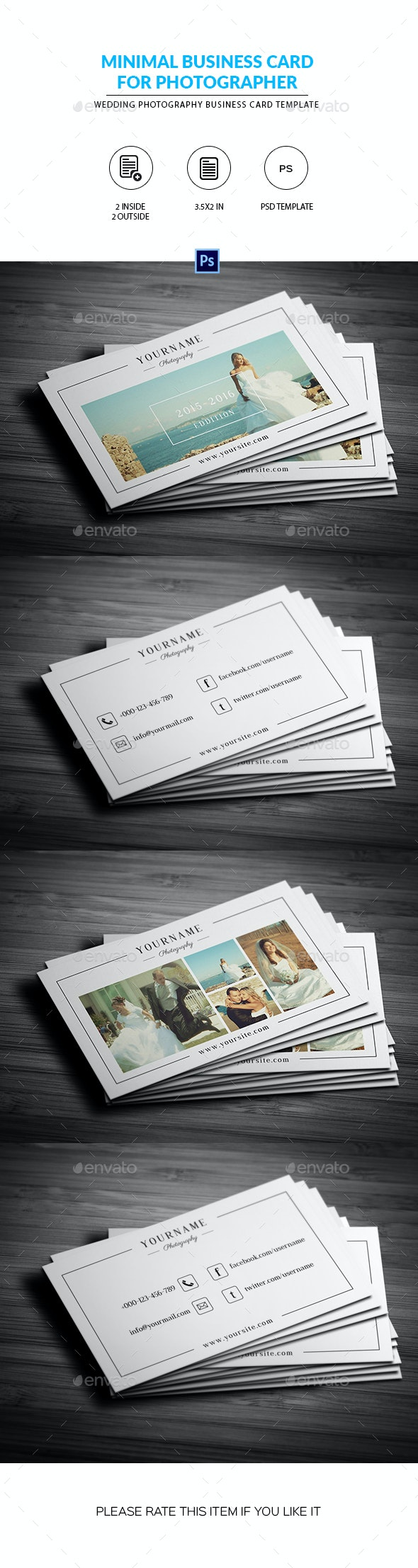 Minimal Wedding Photography Business Card - Corporate Business Cards