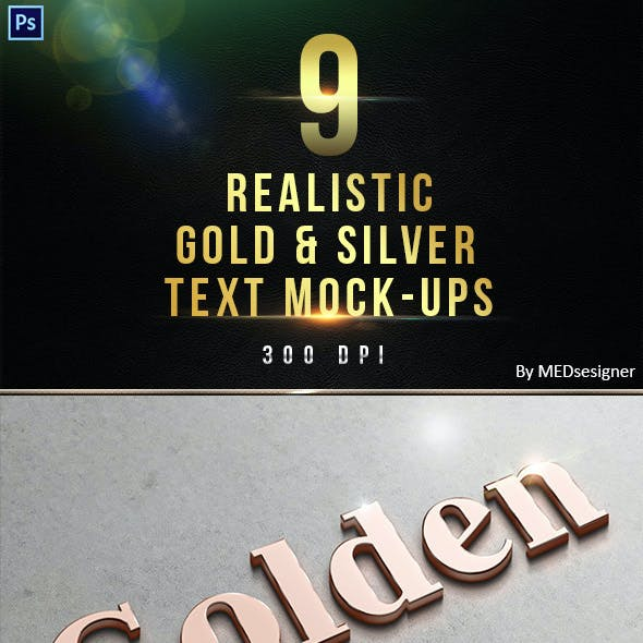 9 3D Realistic Gold & Silver Text Mock-ups