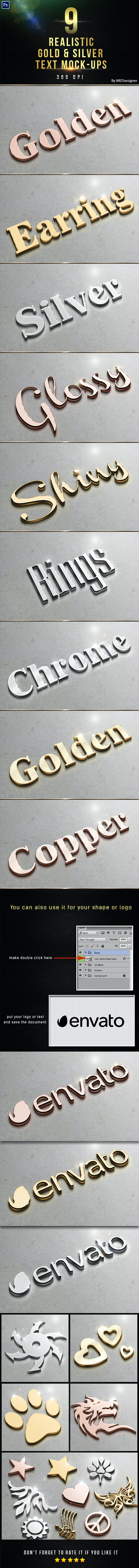 9 3D Realistic Gold & Silver Text Mock-ups - Text Effects Actions