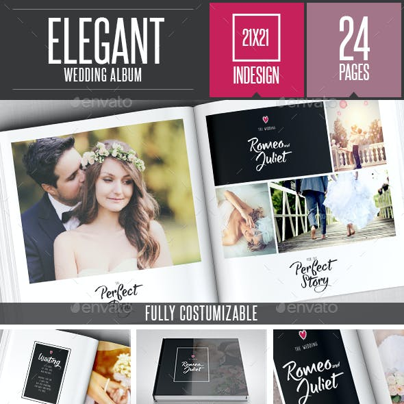 Elegant Wedding Square Photo Album Template
