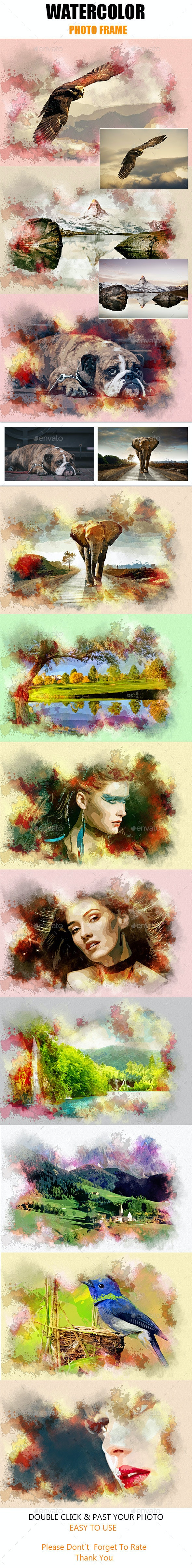 Watercolor Photo Frame - Photo Templates Graphics