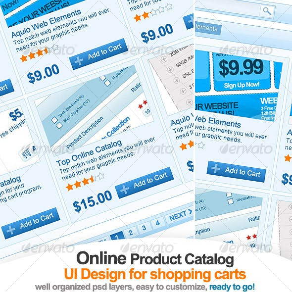 Clean Online catalog UI design for shopping carts