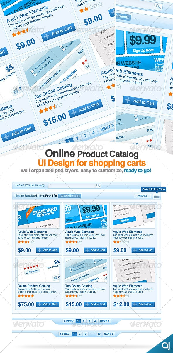 Clean Online catalog UI design for shopping carts - Web Elements