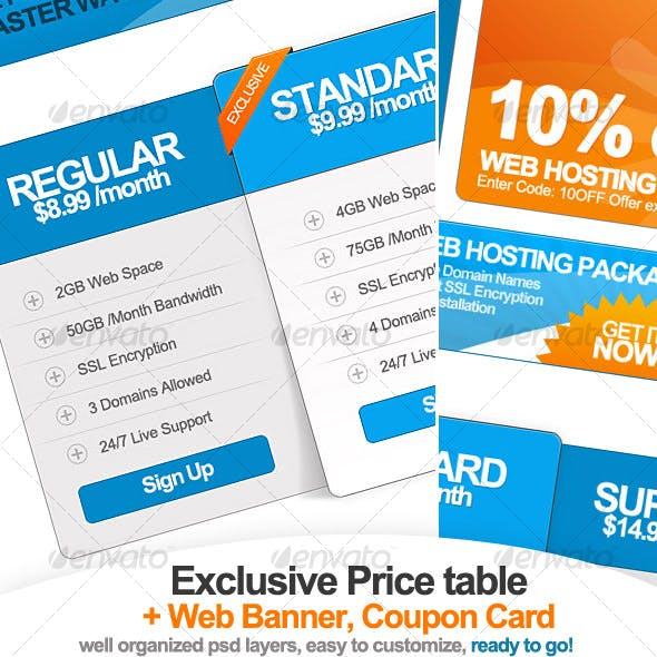Exclusive Pricing Table + Web Banner & Coupon Card