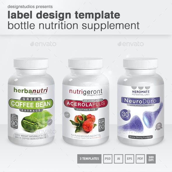 Label Design Template Bottle Nutrition Supplement