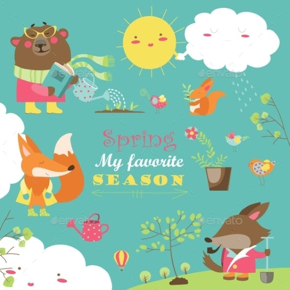 Set Of Cartoon Characters And Spring Elements