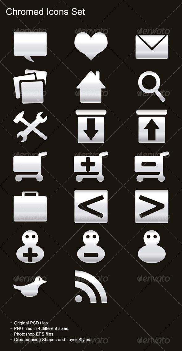Chromed Icons Set - Web Icons