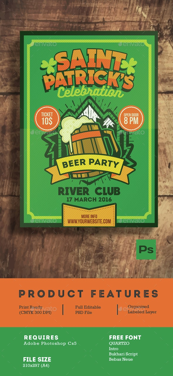 Saint Patrick's Beer Party Poster Flyer - Events Flyers